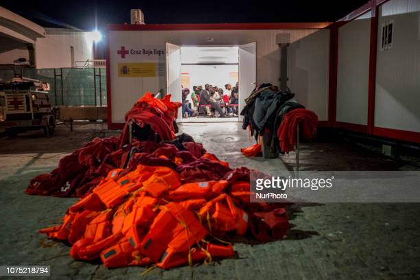 Agroup of rescued migrants waiting their turn inside of thr Care unit on 22 December 2018 in Malaga Spain 120 migrants were recued from the danger of...