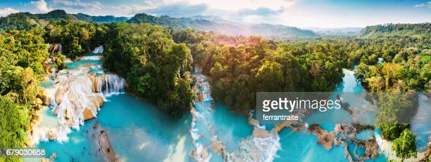agua azul waterfalls in chiapas mexico - mexico stock photos and pictures
