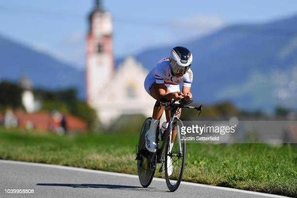 Agua Marina Espinola of Paraguay / during the Women Elite Individual Time Trial a 278km race from Wattens to Innsbruck 582m at the 91st UCI Road...