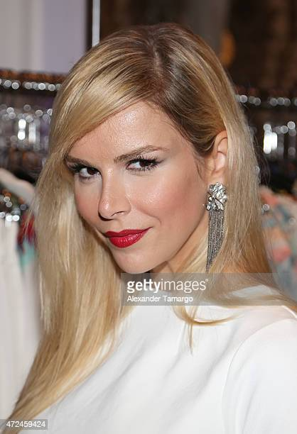 Agueda Lopez poses at Studio LX during the clothing launch of Chiquinquira Delgado in collaboration with David Lerner on May 7 2015 in Miami Florida