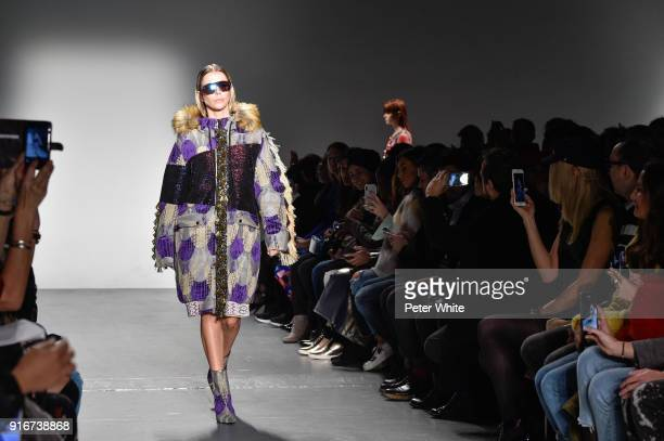 Agueda Lopez walks the runway for Custo Barcelona during New York Fashion Week at Pier 59 on February 10 2018 in New York City