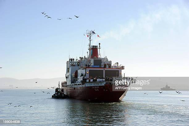 SA Agulhas a South African icestrengthened polar research/supply vessel leaves Cape Town on January 7 at the start of expedition to complete the last...