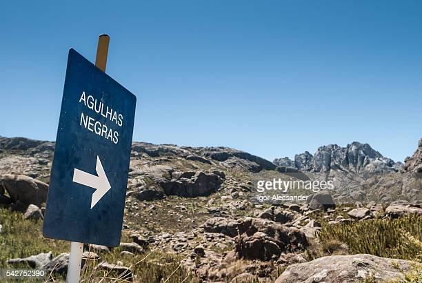 Agulhas Negras Mountain, sign to the trail, Itatiaia National Park, Brazil