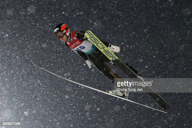 Aguri Shimizu of Japan competes in the Individual Gundersen LH 10km during the FIS Nordic Combined World Cup presented by Viessmann Test Event For...