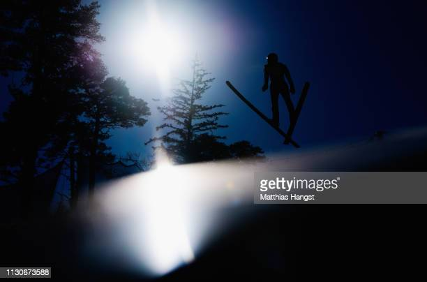 Aguri Shimizu of Japasn jumps during the ski jumping training for the Nordic Combined ahead of the FIS Nordic World Ski Championships on February 19...