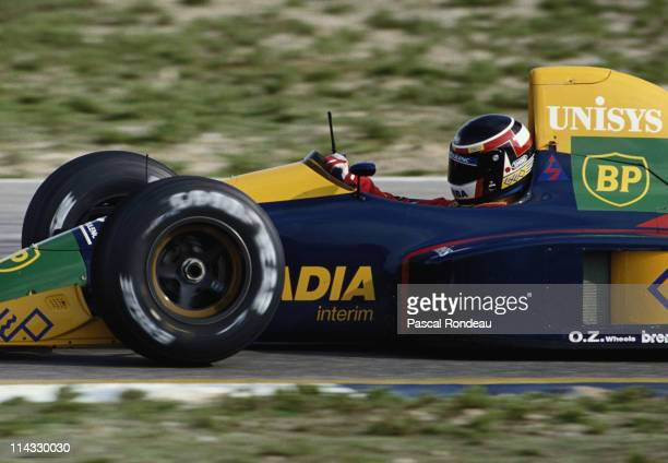 Aguri Suzuki drives the Espo Larrousse F1 Lola LC89B Lamborghini 3.5 V12 during pre season testing on 10th February 1990 at the Autodromo do Estoril...