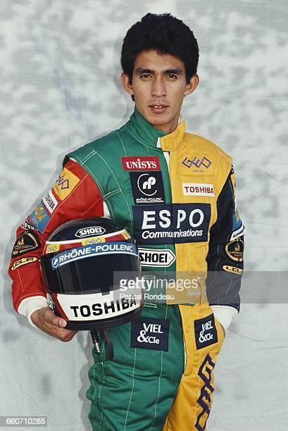Aguri Suzuki of Japan driver of the Espo Larrousse F1 Lola Lamborghini V12 poses for a portrait during pre season testing on 1 February 1990 at the...
