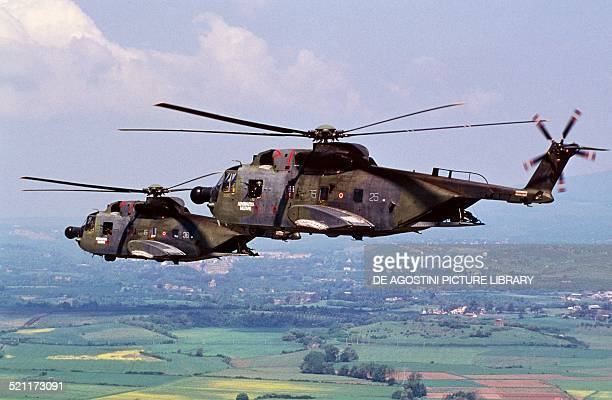 AgustaSikorsky HH3F helicopters of the Italian Air Force in flight Italy late 20th century Italy
