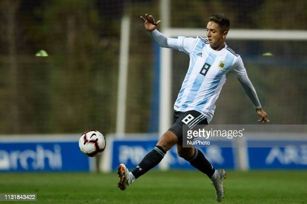 Agustin Almendra of Argentina controls the ball during the friendly match between Argentina and France U20 at Pinatar Arena in Murcia Spain on March...