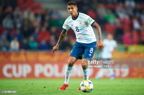 Agustin Almendra of Argentina in action during the 2019 FIFA U20 World Cup group F match between Argentina and South Africa at Tychy Stadium on May...