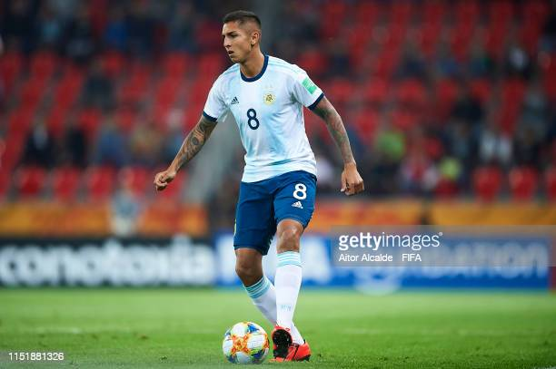 Agustin Almendra of Argentina runs with the ball during the 2019 FIFA U20 World Cup group F match between Argentina and South Africa at Tychy Stadium...