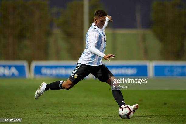 Agustin Almendra of Argentina shooting to goal during the friendly match between Argentina and France U20 at Pinatar Arena in Murcia Spain on March...