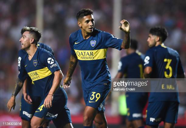Agustin Almendra of Boca Juniors celebrates after scoring the third goal of his team during a match between Union and Boca Juniors as part of...
