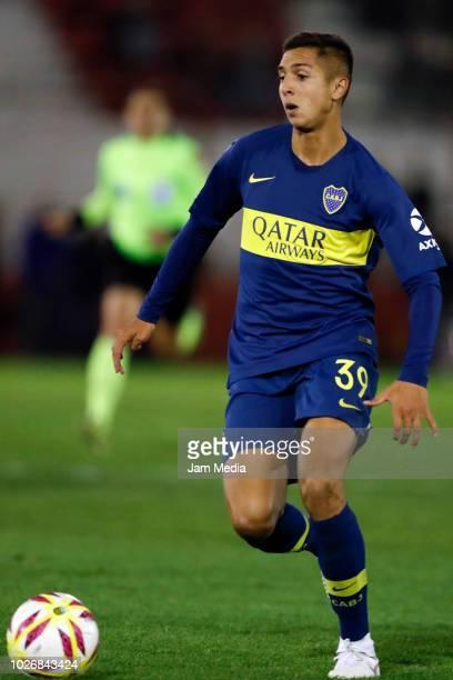 Agustin Almendra of Boca Juniors controls the ball during a match between Huracan and Boca Juniors as part of Superliga Argentina 2018/19 at Estadio...
