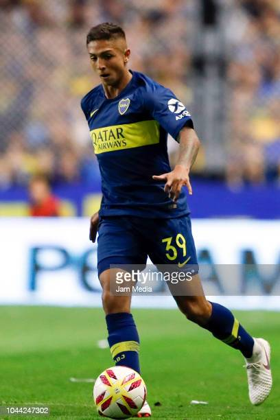 Agustin Almendra of Boca Juniors controls the ball during a match between Boca Juniors and River Plate as part of Superliga 2018/19 at Estadio...
