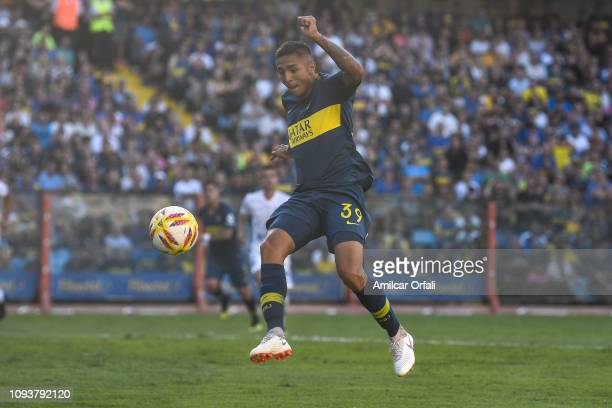 Agustin Almendra of Boca Juniors controls the ball during a match between Boca Juniors and Godoy Cruz as part of Superliga 2018/19 at Estadio Alberto...