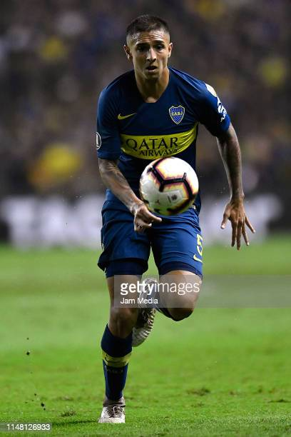 Agustin Almendra of Boca Juniors drives the ball during a group G match between Boca Juniors and Atletico Paranaense as part of Copa CONMEBOL...