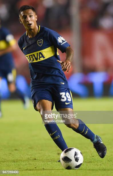 Agustin Almendra of Boca Juniors drives the ball during a match between Independiente and Boca Juniors as part of Superliga 2017/18 on April 15 2018...