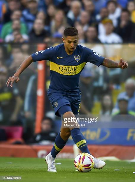 Agustin Almendra of Boca Juniors drives the ball during a match between Boca Juniors and River Plate as part of Superliga 2018/19 at Estadio Alberto...