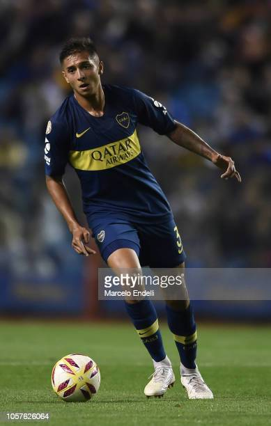 Agustin Almendra of Boca Juniors drives the ball during a match between Boca Juniors and Tigre as part of Superliga 2018/19 at Estadio Alberto J...