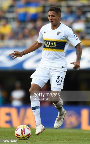 Agustin Almendra of Boca Juniors drives the ball during a match between Boca Juniors and Patronato as part of Superliga 2018/19 at Estadio Alberto J...