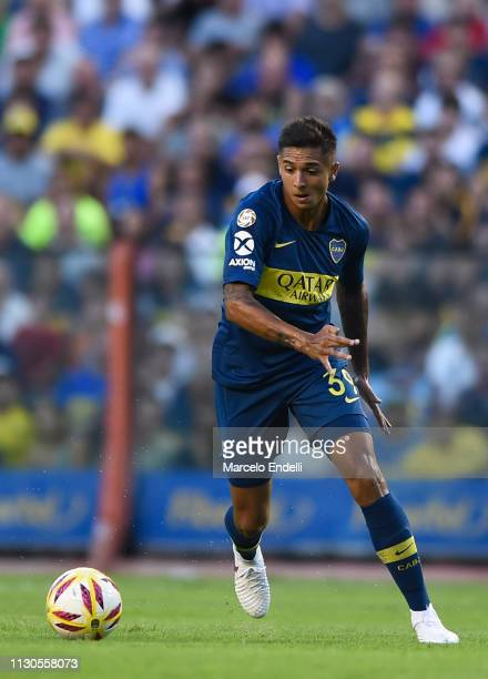 Agustin Almendra of Boca Juniors drives the ball during a match between Boca Juniors and Lanus as part of Superliga 2018/19 at Estadio Alberto J...