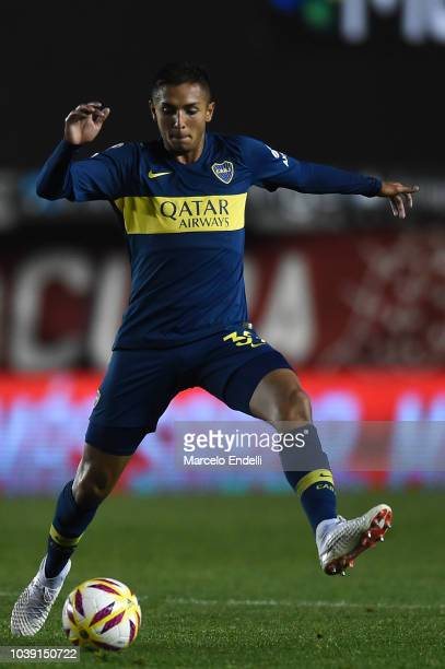 Agustin Almendra of Boca Juniors drives the ball during a match between Argentinos Juniors and Boca Juniors as part of Superliga 2018/19 at...