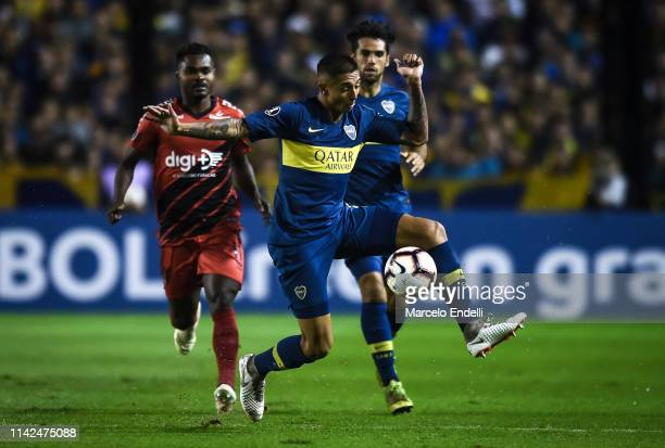 Agustin Almendra of Boca Juniors kicks the ball during a group G match between Boca Juniors and Atletico Paranaense as part of Copa CONMEBOL...
