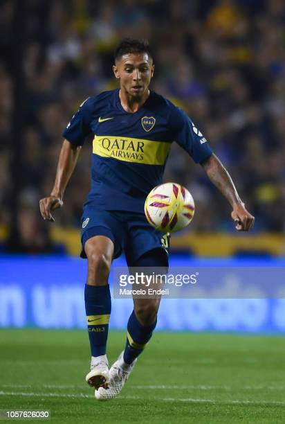 Agustin Almendra of Boca Juniors kicks the ball during a match between Boca Juniors and Tigre as part of Superliga 2018/19 at Estadio Alberto J...