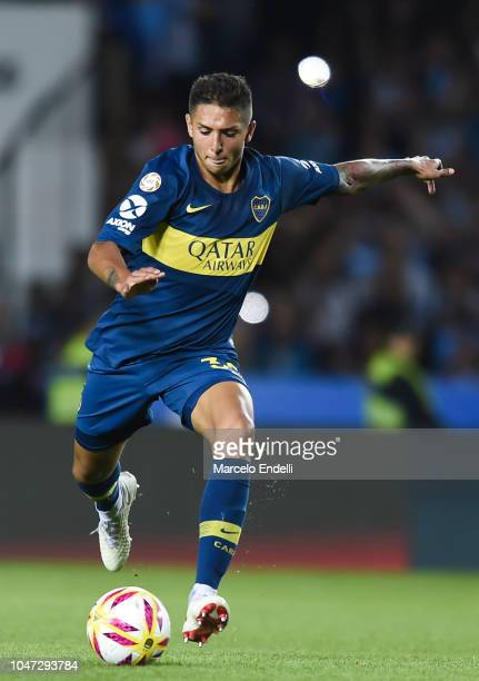 Agustin Almendra of Boca Juniors kicks the ball during a match between Racing Club and Boca Juniors as part of Superliga 2018/19 at Estadio Juan...