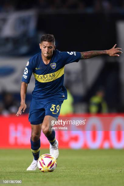 Agustin Almendra of Boca Juniors kicks the ball during a match between Racing Club and Boca Juniors as part of Superliga 2018/19 at Juan Domingo...