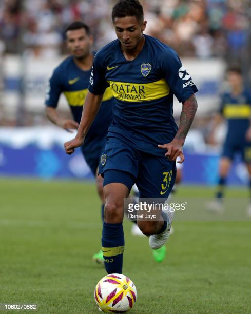 Agustin Almendra of Boca Juniors plays the ball during a match between Gimnasia y Esgrima La Plata and Boca Juniors at Juan Carmelo Zerillo Stadium...