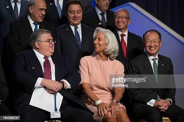 Agustin Carstens governor of Banco de Mexico from left bottom row Christine Lagarde managing director of International Monetary Fund Jim Yong Kim...