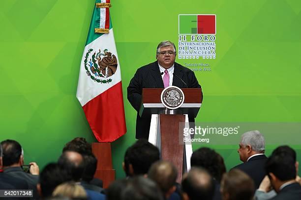 Agustin Carstens governor of Mexico's central bank Banco de Mexico speaks during a financial inclusion forum at the Palacio Nacional in Mexico City...