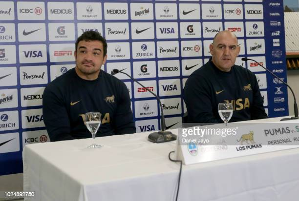 Agustin Creevy and coach Mario Ledesma talk during a press conference after Argentina Captain's Run before the The Rugby Championship 2018 match...
