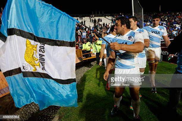 Agustin Creevy captain of Argentina celebrates with an argentinian flag after winning a match between Argentina Los Pumas and Australia Wallabies as...