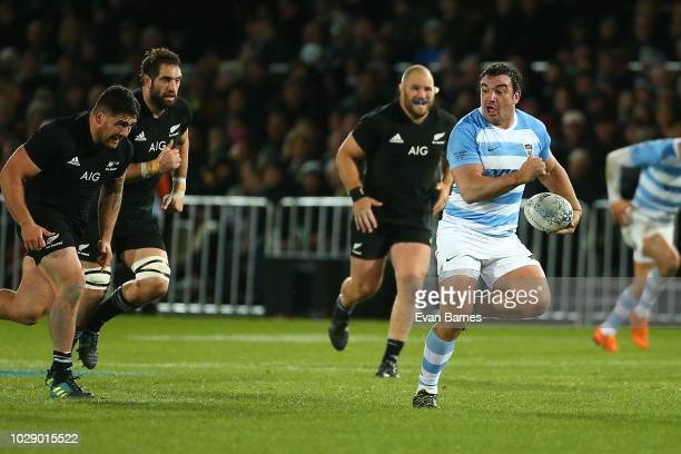 Agustin Creevy makes a break during The Rugby Championship between the New Zealand All Blacks and Argentina at Trafalgar Park on September 8 2018 in...