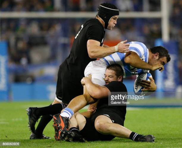 Agustin Creevy of Argentina is tackled by Dane Coles of New Zealand during a match between Argentina and New Zealand as part of Rugby Championship...