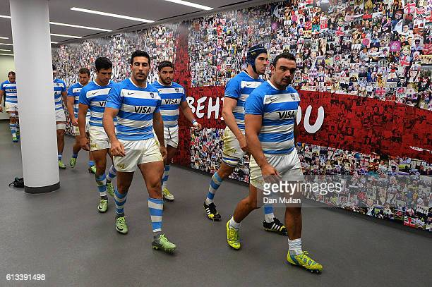 Agustin Creevy of Argentina leads out his teammates for the second half during The Rugby Championship match between Argentina and Australia at...