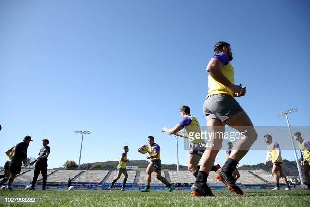 Agustin Creevy of Argentina passes during the Argentina captain's run at Trafalgar Park on September 7 2018 in Nelson New Zealand
