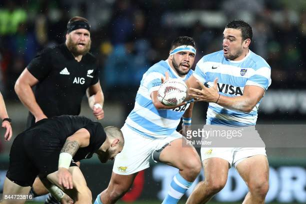 Agustin Creevy of Argentina passes during The Rugby Championship match between the New Zealand All Blacks and Argentina at Yarrow Stadium on...
