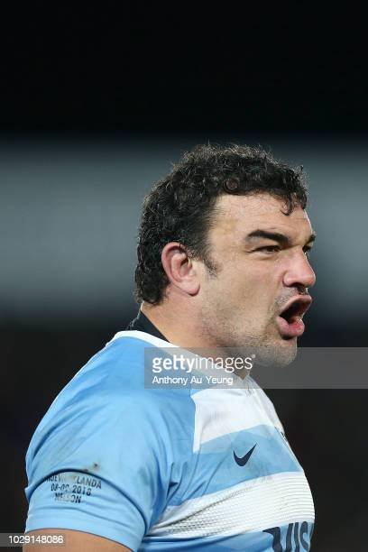 Agustin Creevy of Argentina reacts during The Rugby Championship match between the New Zealand All Blacks and Argentina at Trafalgar Park on...