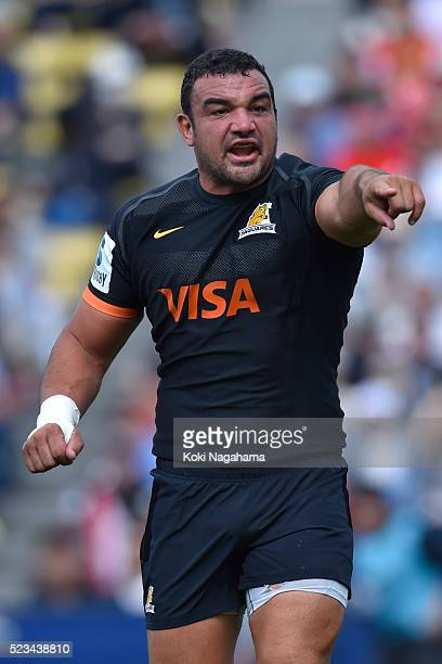 Agustin Creevy of Jagures gestures during the round nine Super Rugby match between the Sunwolves and the Jauares at Prince Chichibu Memorial Ground...