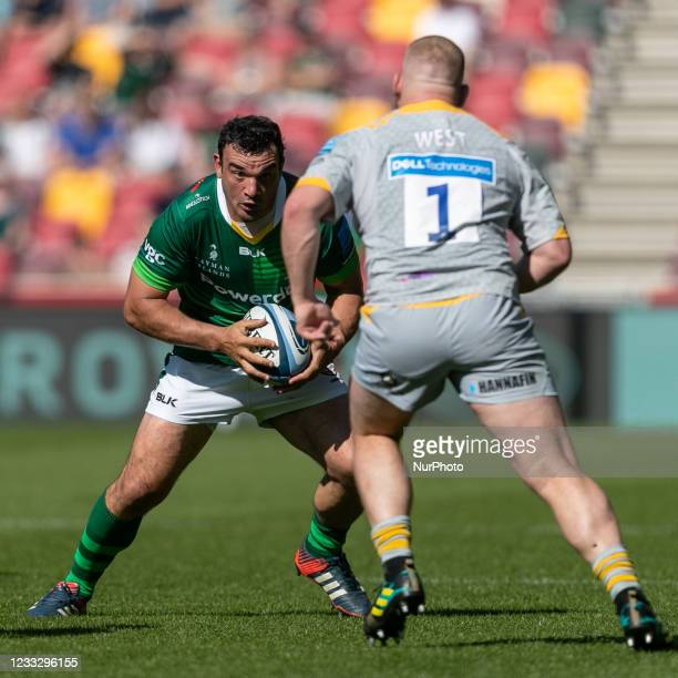 Agustin Creevy of London Irish in action during the Gallagher Premiership match between London Irish and Wasps at the Brentford Community Stadium,...