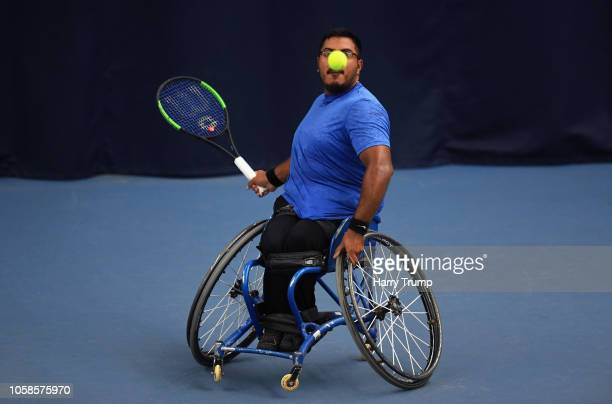 Agustin Ledesma of Argentina plays a shot during Day Two of the Bath Indoor Wheelchair Tennis Tournament 2018 at the University of Bath on November 7...