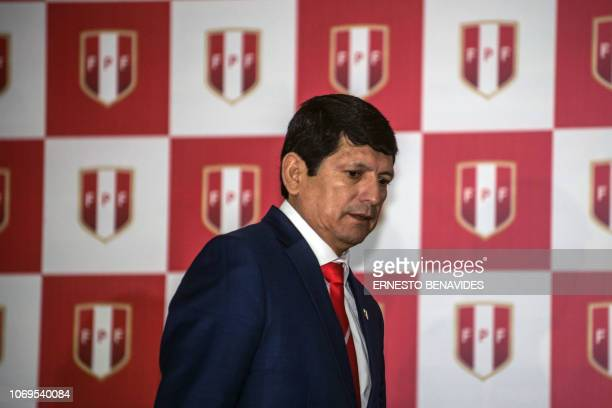 Agustin Lozano who assumed the presidency of the Peruvian Football Federation after the arrest of Edwin Oviedo on a graft case delivers a press...