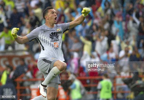 Agustin Marchesin goalkeaper of America celebrates their goal against Pachuca during the Mexican Apertura 2017 Tournament football match at Hidalgo...