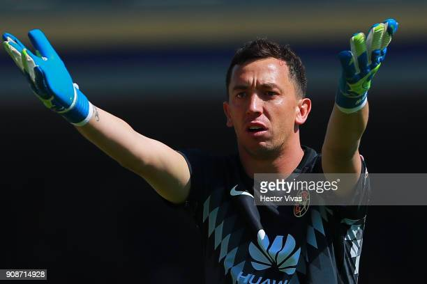 Agustin Marchesin goalkeeper of America reacts during the 3rd round match between Pumas UNAM and America as part of the Torneo Clausura 2018 Liga MX...