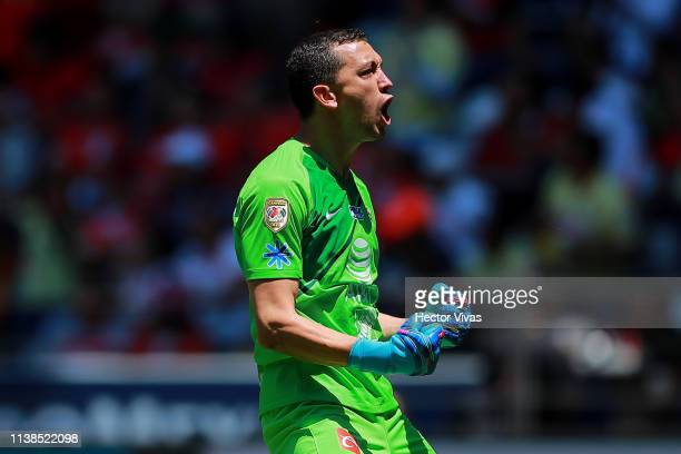 Agustin Marchesin of America celebrates after the first goal of his team during the 15th round match between Toluca and America as part of the Torneo...
