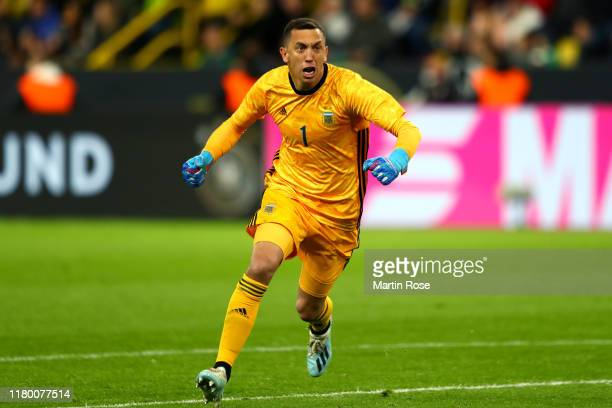Agustin Marchesin of Argentina celebrates his team's second goal during the International Friendly match between Germany and Argentina at Signal...